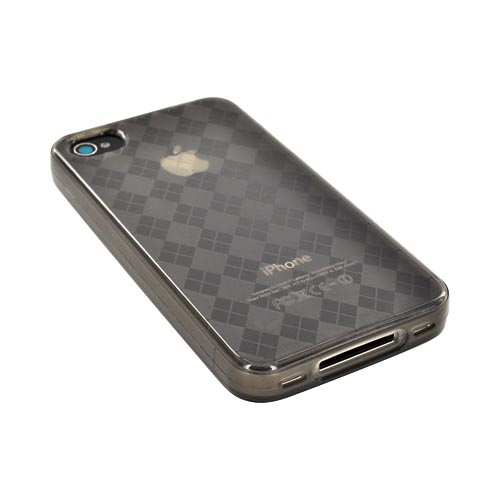 AT&T/ Verizon iPhone 4, iPhone 4S Crystal Silicone Case - Argyle Smoke