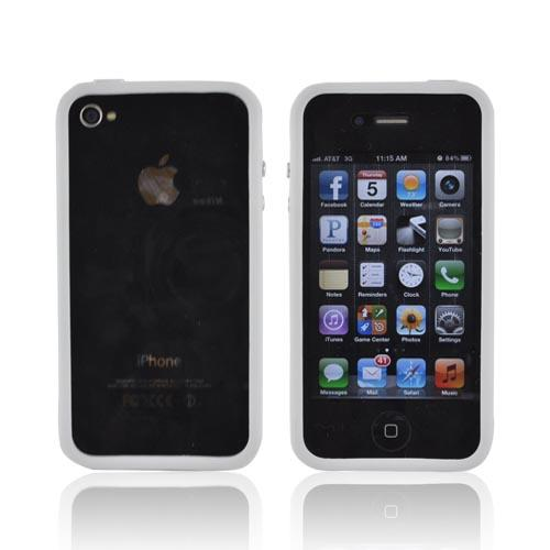 AT&T/Verizon Apple iPhone 4, iPhone 4S Crystal Silicone Bumper - White