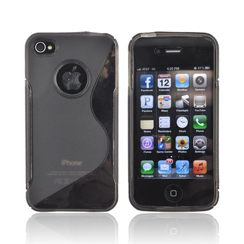 Luxmo Apple Verizon/ AT&T iPhone 4, iPhone 4S Crystal Silicone Case - Smoke/Clear Design