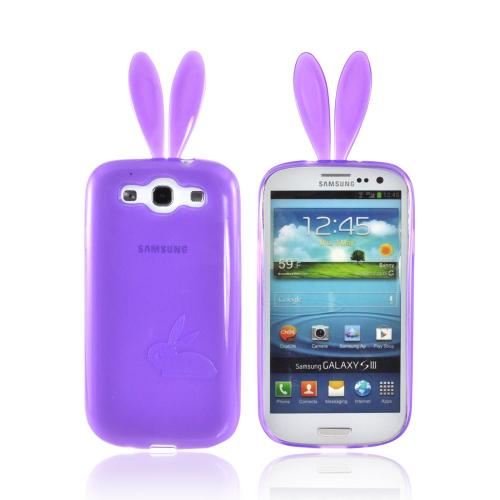 Samsung Galaxy S3 Crystal Silicone Case w/ Bunny Ears - Purple