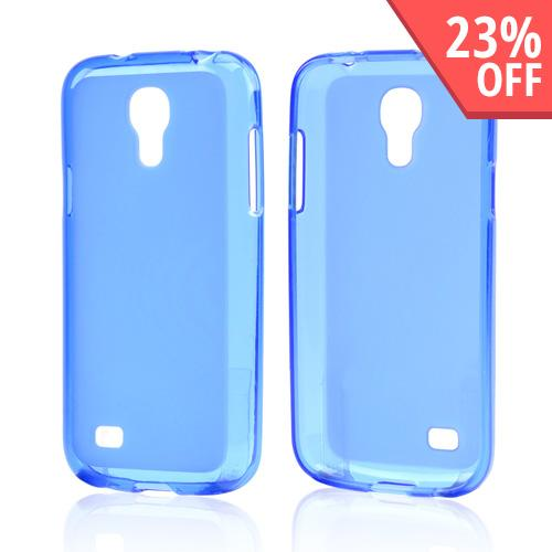 Blue Frosted Back Crystal Silicone Skin Case for Samsung Galaxy S4 Mini