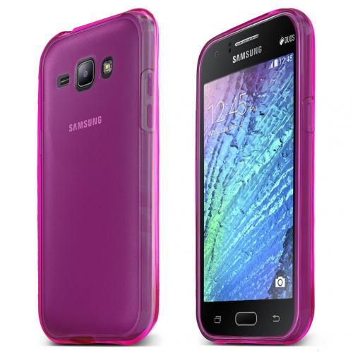 Samsung Galaxy J1 Case, [Hot Pink] Slim & Flexible Crystal Silicone TPU Protective Case