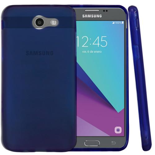 Samsung Galaxy J3 Emerge Case, Slim & Flexible Anti-shock Crystal Silicone Protective TPU Gel Skin Case Cover [Blue] with Travel Wallet Phone Stand