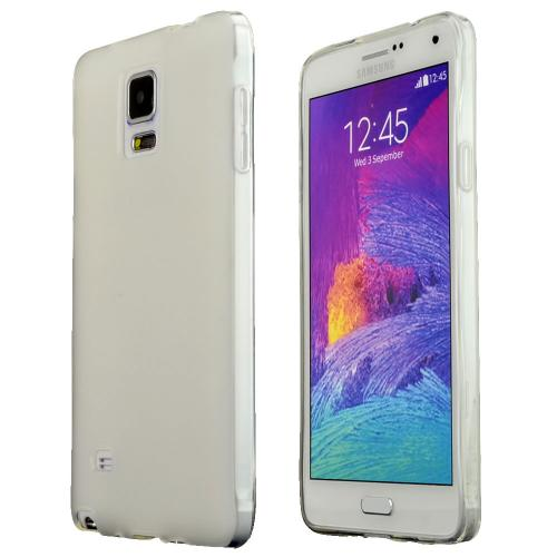 Samsung Galaxy Note 4 Case,  [White]  Slim & Flexible Anti-shock Crystal Silicone Protective TPU Gel Skin Case Cover