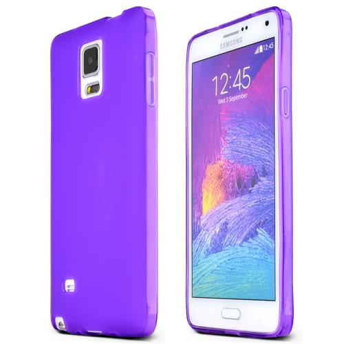 Samsung Galaxy Note 4 Case,  [Purple]  Slim & Flexible Anti-shock Crystal Silicone Protective TPU Gel Skin Case Cover