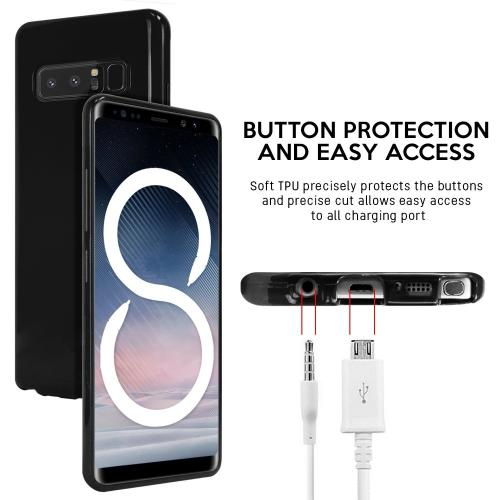 [REDshield] Samsung Galaxy Note 8 TPU Case, Slim & Flexible Anti-shock Crystal Silicone Protective TPU Gel Skin Case [Black]