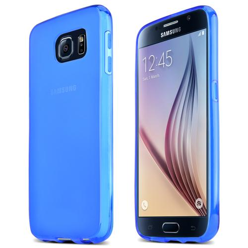Samsung Galaxy S6 Case,  [Blue]  Slim & Flexible Anti-shock Crystal Silicone Protective TPU Gel Skin Case Cover
