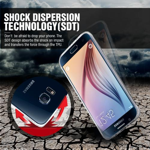 Samsung Galaxy S6 Edge Case,  [Blue]  Slim & Flexible Anti-shock Crystal Silicone Protective TPU Gel Skin Case Cover