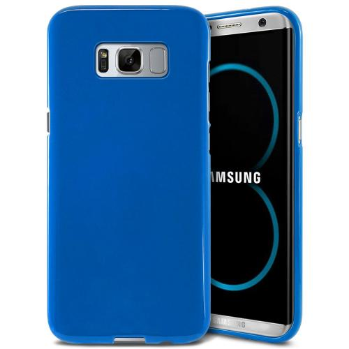 Samsung Galaxy S8 TPU Case, [REDshield] Slim & Flexible Anti-shock Crystal Silicone Protective TPU Gel Skin Case Cover [Blue] with Travel Wallet Phone Stand
