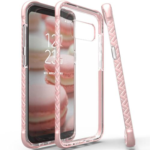 Scottii [Samsung Galaxy S8 Plus] TPU Case with Removeable PINK Borders and CLEAR Back