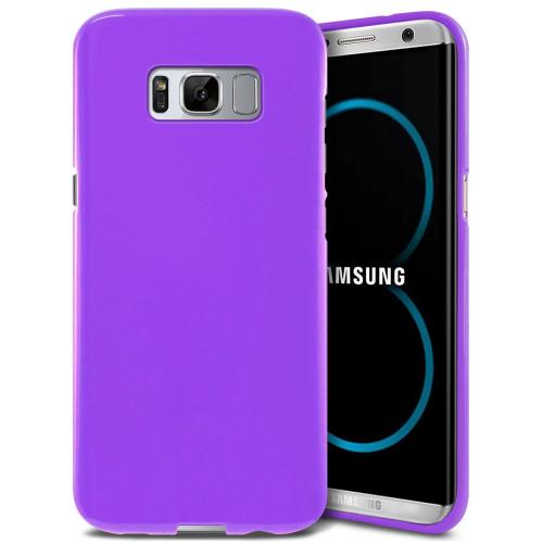 Samsung Galaxy S8 TPU Case, [REDshield] Slim & Flexible Anti-shock Crystal Silicone Protective TPU Gel Skin Case Cover [Purple] with Travel Wallet Phone Stand