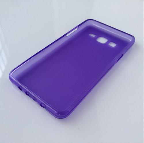 Samsung Galaxy On5 Case, Slim & Flexible Anti-shock Crystal Silicone Protective TPU Gel Skin Case Cover [Purple] with Travel Wallet Phone Stand