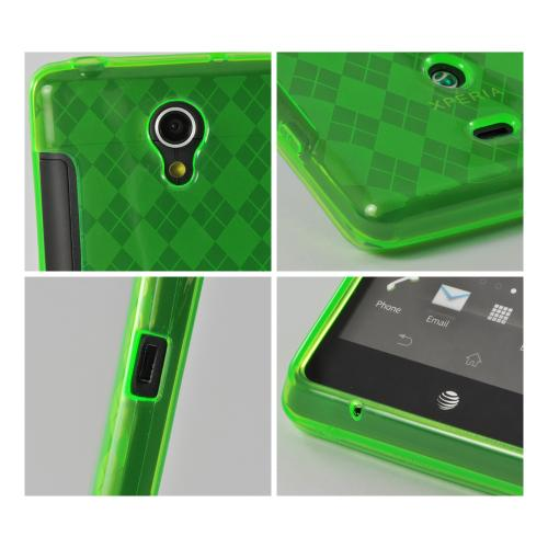 Neon Green Argyle Crystal Silicone Case for Sony Xperia TL