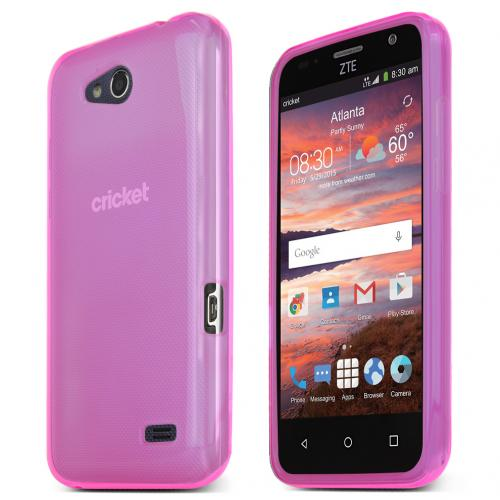 ZTE Overture 2 Case, HOT PINK Slim & Flexible Anti-shock Crystal Silicone TPU Skin Protective Case