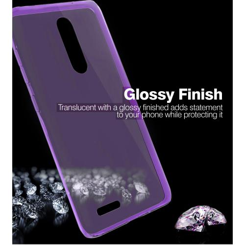 ZTE Z Max Pro Case, Slim & Flexible Anti-shock Crystal Silicone Protective TPU Gel Skin Case Cover [Purple] with Travel Wallet Phone Stand