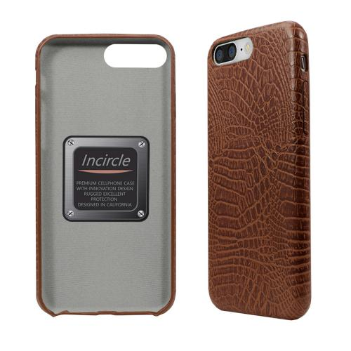 Apple iPhone 8/7/6S/6 Plus Case, Incircle [Bareskin Series] Ultra Slim Fit Faux Leather Flexible Bumper Case [Brown Alligator]
