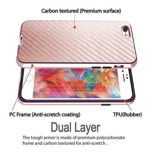 Apple iPhone 6/6S (4.7 inch) Case, Incircle [Dual Protection Series] Premium Carbon Fiber Design Bumper Cover Case [Rose Gold]
