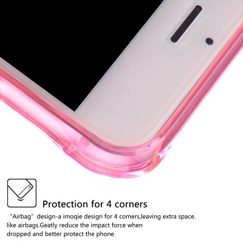 Apple iPhone 8/7/6S/6 Plus Case, REDshield [Hot Pink] Durable Anti-shock Crystal Silicone Protective TPU Gel Skin Case Cover with Travel Wallet Phone Stand
