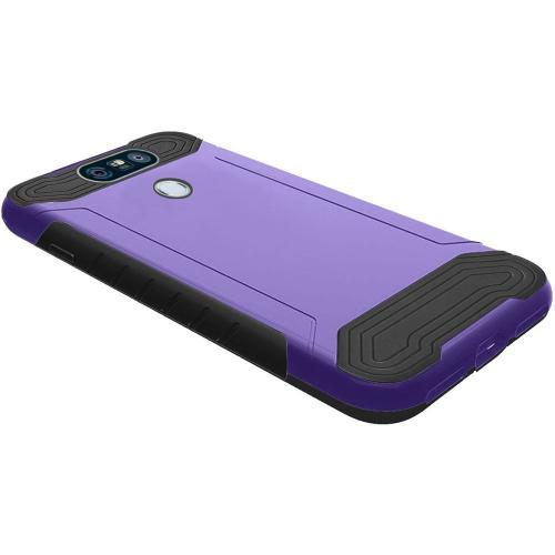 LG G6 Hybrid Case, Shockproof Protection TPU & PC Hybrid Cover Case [Purple/ Black] with Travel Wallet Phone Stand
