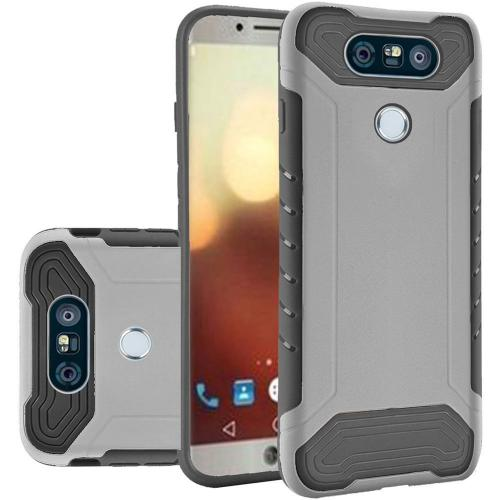 LG G6 Hybrid Case, Shockproof Protection TPU & PC Hybrid Cover Case [Silver/ Black] with Travel Wallet Phone Stand