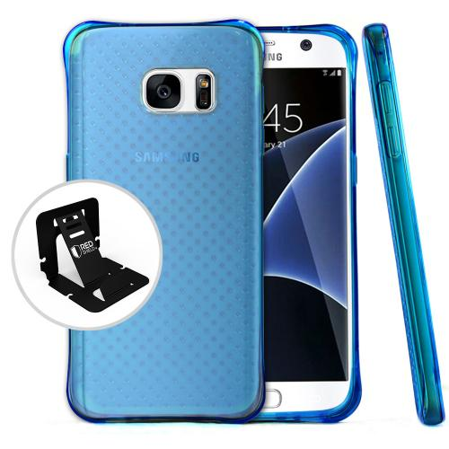 Samsung Galaxy S7 Case, Redshield [Blue]  Durable Anti-shock Crystal Silicone Protective TPU Gel Skin Case Cover with Travel Wallet Phone Stand