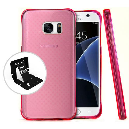 Samsung Galaxy S7 Case,  REDshield [Hot Pink] Durable Anti-shock Crystal Silicone Protective TPU Gel Skin Case Cover with Travel Wallet Phone Stand