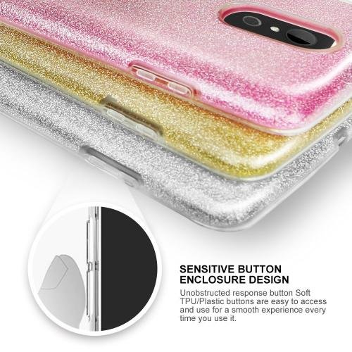 LG Aristo/ Fortune Case, Slim & Flexible Anti-shock Crystal Silicone TPU Skin Protective Cover w/ PC Hard Back [Gold Glitter]