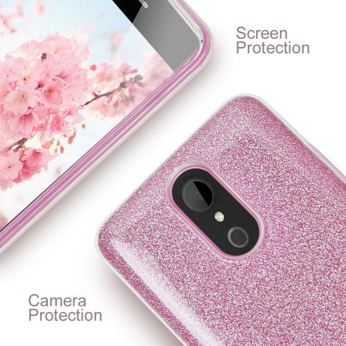 LG Aristo/ Fortune Case, Slim & Flexible Anti-shock Crystal Silicone TPU Skin Protective Cover w/ PC Hard Back [Pink Glitter]