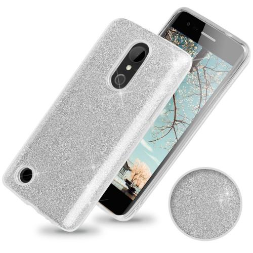 LG Aristo/ Fortune Case, Slim & Flexible Anti-shock Crystal Silicone TPU Skin Protective Cover w/ PC Hard Back [Silver Glitter]