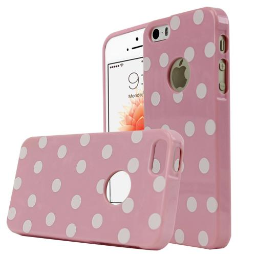 Apple iPhone SE/5/5S Case,  [Baby Pink/ White Polka Dots] Dot jelly Series Slim & Flexible Anti-shock Crystal Silicone Protective TPU Gel Skin Case Cover