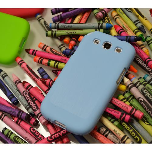 Sky Blue Super Premium Anti-Slip Crayon Series Crystal Silicone Case for Samsung Galaxy S3