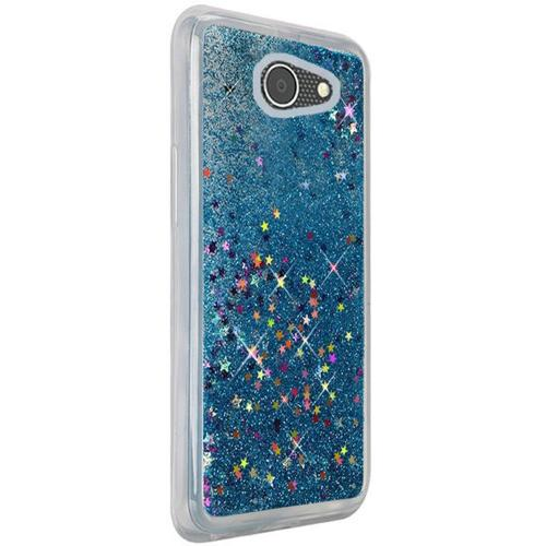 Alcatel A30 Glitter Case, Slim & Flexible Anti-shock Hybrid Flexible TPU Case Cover Liquid W/ Glitter & Stars [Aqua] with Travel Wallet Phone Stand