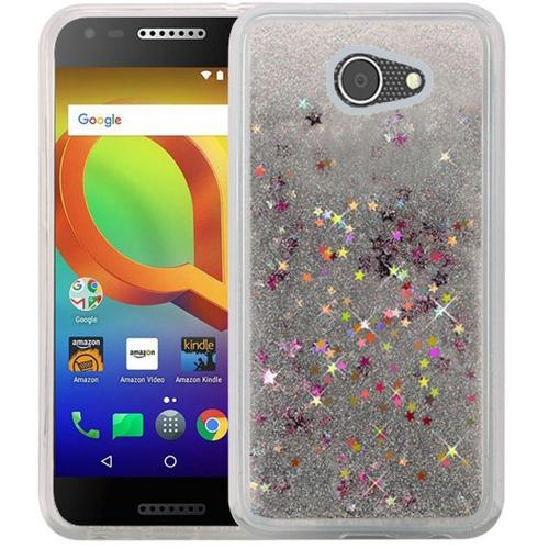 Alcatel A30 Glitter Case, Slim & Flexible Anti-shock Hybrid Flexible TPU Case Cover Liquid W/ Glitter & Stars [Silver] with Travel Wallet Phone Stand