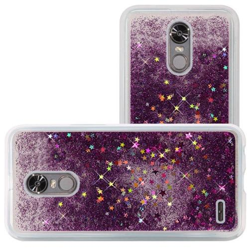 LG Stylo 3/ 3 Plus Case, Slim & Flexible Anti-shock Hybrid Flexible TPU Case Cover, Liquid W/ Glitter & Stars [Purple] Travel Wallet Phone Stand