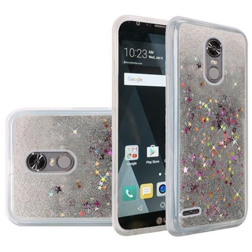 LG Stylo 3/ 3 Plus Case, Slim & Flexible Anti-shock Hybrid Flexible TPU Case Cover, Liquid W/ Glitter & Stars [Silver] Travel Wallet Phone Stand