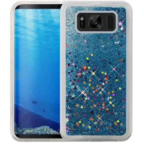 Samsung Galaxy S8 Glitter Case, Slim & Flexible Anti-shock Hybrid Flexible TPU Case Cover, Liquid W/ Glitter & Stars [Aqua] with Travel Wallet Phone Stand