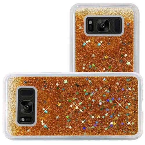Samsung Galaxy S8 Glitter Case, Slim & Flexible Anti-shock Hybrid Flexible TPU Case Cover, Liquid W/ Glitter & Stars [Gold] with Travel Wallet Phone Stand