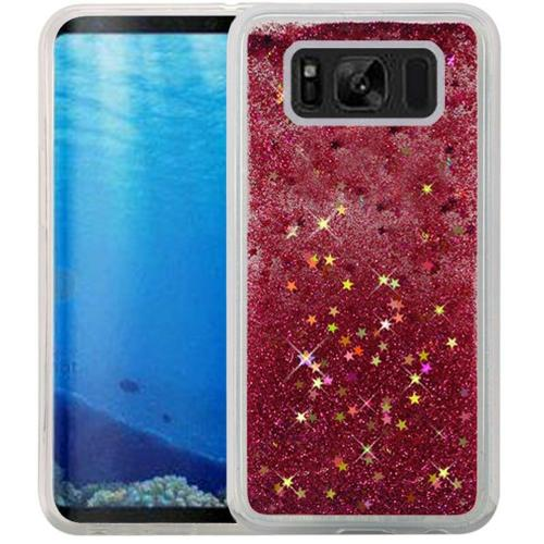 Samsung Galaxy S8 Glitter Case, Slim & Flexible Anti-shock Hybrid Flexible TPU Case Cover, Liquid W/ Glitter & Stars [Hot Pink] with Travel Wallet Phone Stand