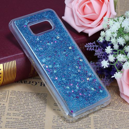 Samsung Galaxy S8 Plus Glitter Case, Slim & Flexible Anti-shock Hybrid Flexible TPU Case Cover Liquid W/ Glitter & Stars [Aqua] with Travel Wallet Phone Stand