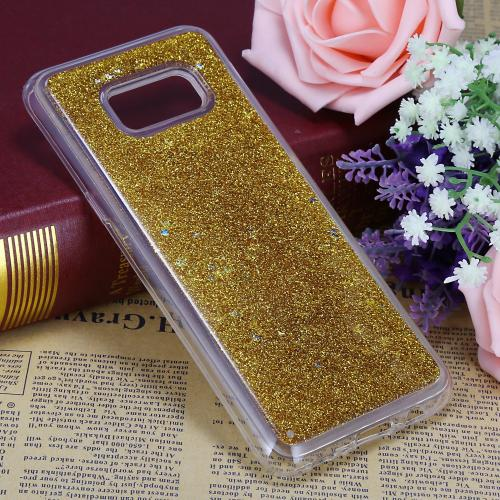 Samsung Galaxy S8 Plus Glitter Case, Slim & Flexible Anti-shock Hybrid Flexible TPU Case Cover Liquid W/ Glitter & Stars [Gold] with Travel Wallet Phone Stand