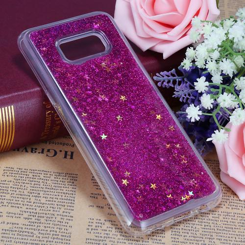 Samsung Galaxy S8 Plus Glitter Case, Slim & Flexible Anti-shock Hybrid Flexible TPU Case Cover Liquid W/ Glitter & Stars [Hot Pink] with Travel Wallet Phone Stand