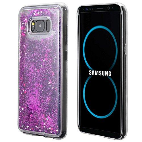 Samsung Galaxy S8 Plus Glitter Case, Slim & Flexible Anti-shock Hybrid Flexible TPU Case Cover Liquid W/ Glitter & Stars [Purple] with Travel Wallet Phone Stand
