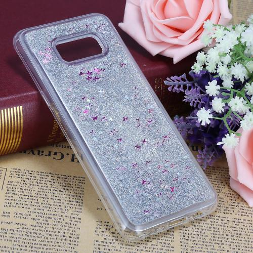 Samsung Galaxy S8 Plus Glitter Case, Slim & Flexible Anti-shock Hybrid Flexible TPU Case Cover Liquid W/ Glitter & Stars [Silver] with Travel Wallet Phone Stand