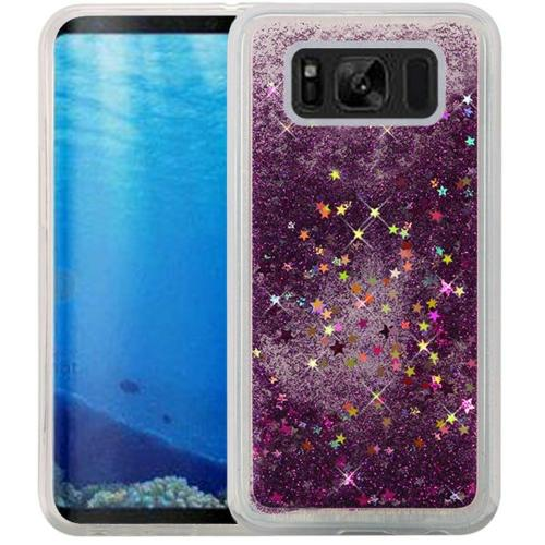 Samsung Galaxy S8 Glitter Case, Slim & Flexible Anti-shock Hybrid Flexible TPU Case Cover, Liquid W/ Glitter & Stars [Purple] with Travel Wallet Phone Stand