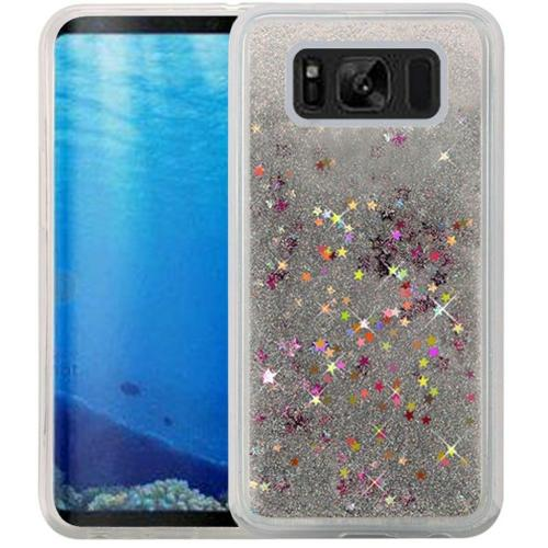 Samsung Galaxy S8 Glitter Case, Slim & Flexible Anti-shock Hybrid Flexible TPU Case Cover, Liquid W/ Glitter & Stars [Silver] with Travel Wallet Phone Stand