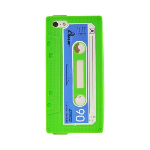 Made for Apple iPhone SE / 5 / 5S  Case,  [Green Cassette Tape Design]  Slim Flexible Anti-shock Crystal Silicone Protective TPU Gel Skin Case Cover by Redshield