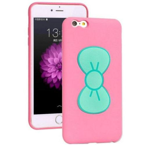Made for Apple iPhone 8 / 7 3D TPU Case, [Mint Bow on Pink] Slim Flexible Anti-shock Crystal Silicone Protective TPU Gel Skin - Bow Doubles as a Stand! by Redshield