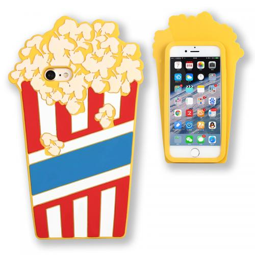Made for Apple iPhone 8 / 7 3D Silicone Case, [Yellow Popcorn] Flexible Anti-shock Silicone Protective Skin Case Cover by Redshield