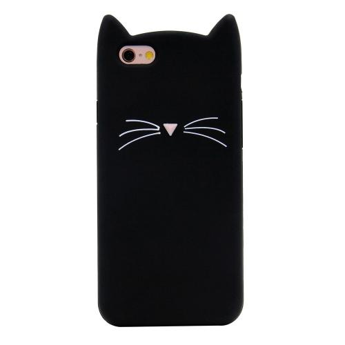 [REDshield] Apple iPhone 8 / 7 3D Silicone Case, [Black Kitty Cat] Slim & Flexible Anti-shock Silicone Protective Skin Case Cover