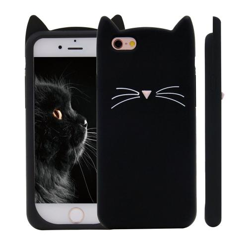 Made for Apple iPhone 8 / 7 3D Silicone Case, [Black Kitty Cat] Slim Flexible Anti-shock Silicone Protective Skin Case Cover by Redshield